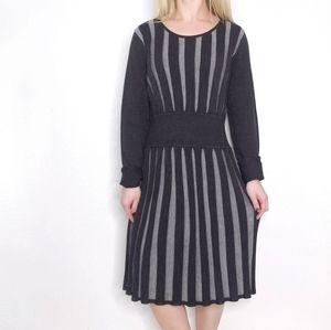 Calvin Klein Gray Knit Long Sleeve Sweater Dress